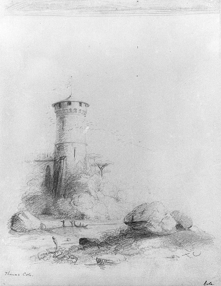 Thomas cole landscape with tower graphite on off white wove paper 1838 thomas cole landscape with tower 26 216 20 in heilbrunn timeline of art